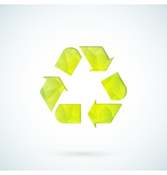 Green recycling symbol geometric icon vector