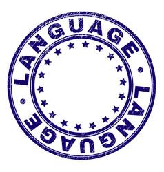Grunge textured language round stamp seal vector