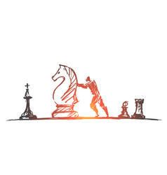 hand drawn man moving huge chess figure vector image