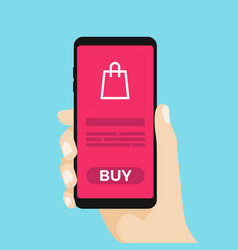 hand holing smart phone with buy button on the scr vector image