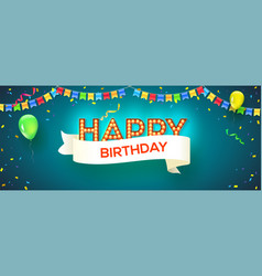 happy birthday card retro fonts with glowing vector image