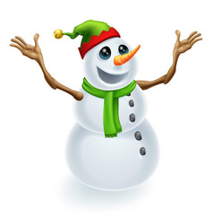 happy christmas snowman vector image