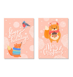happy holidays greeting card with squirrels acorn vector image