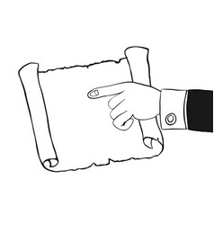 Human hand indicates to an empty parchment scroll vector