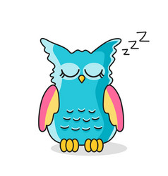icon of sleeping owl isolated on white vector image