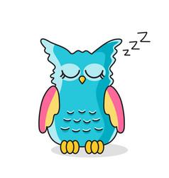 icon sleeping owl isolated on white vector image