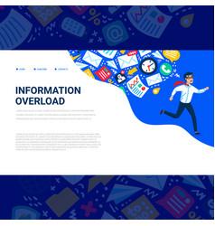 Information overload concept horizontal template vector