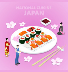 Isometric national cuisine japan with sushi vector