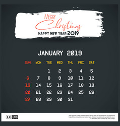 january 2019 new year calendar template brush vector image