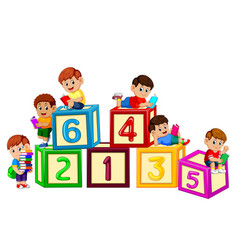 kids reading book on the number block vector image