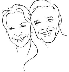 man and woman - young couple - black outline vector image