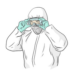 Man in ppe suit wearing protective glasses vector