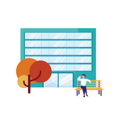man sitting on bench building tree vector image