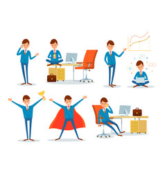 Man working in office business superman male hero vector