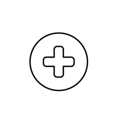 medical cross line icon black on white background vector image