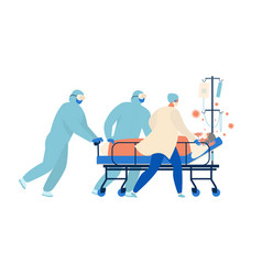 medical workers doctors and a nurse are running vector image