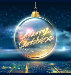 merry christmas poster tree ball city sky vector image
