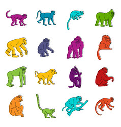 monkey types icons doodle set vector image