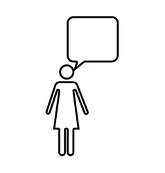 monochrome silhouette of pictogram woman with vector image