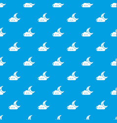 moon and cloud pattern seamless blue vector image