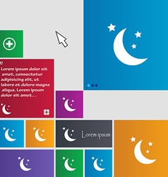 Moon icon sign buttons Modern interface website vector