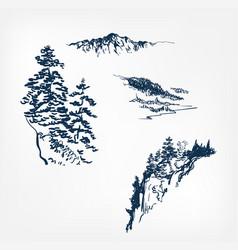 Mountains set design elements sketch japanese vector