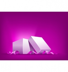 open box with pink ribbon vector image