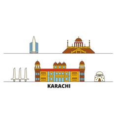 Pakistan karachi flat landmarks vector