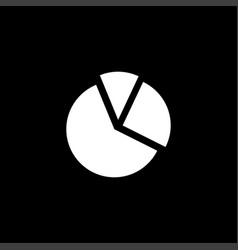 pie chart icon on black background black flat vector image
