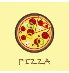 Pizza on the wooden board vector