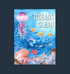 Poster design with sealife-theme creative animal vector