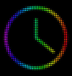 rainbow colored dotted clock icon vector image