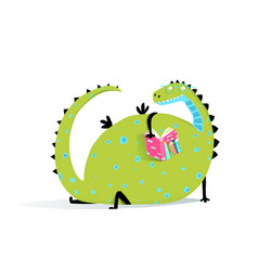 reading book dragon vector image