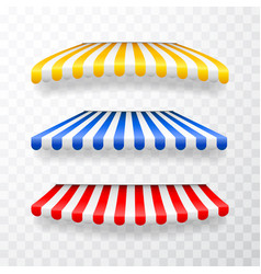 Realistic striped shop sunshade store awning shop vector