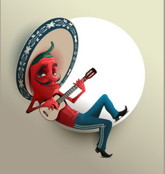 red mexican hot chili pepper in sombrero playing vector image