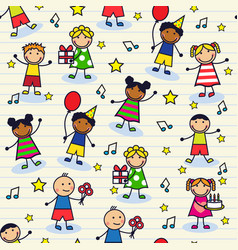 seamless festive background with children vector image