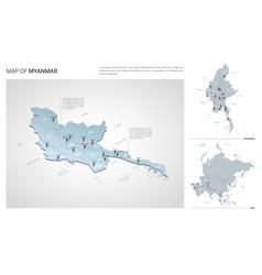 Set myanmar - burma country isometric 3d map vector