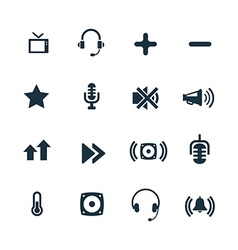 set of audio icons vector image