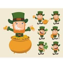 Set of leprechaun characters poses vector image