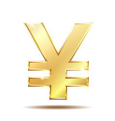 Shiny golden yen currency symbol vector