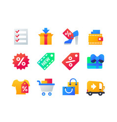 shopping - set of flat design style icons vector image