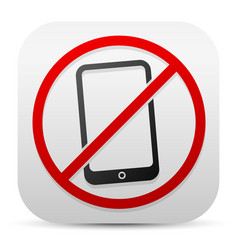Smartphone and probitive sign turn off cellphones vector
