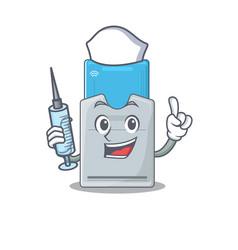 Smiley nurse key card cartoon character vector
