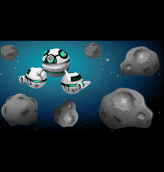 space ship and asteroid scene vector image