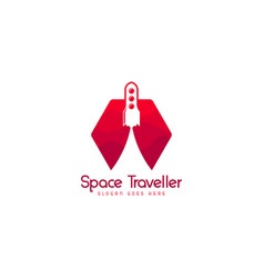 space travelling logo template spacecraft logo vector image