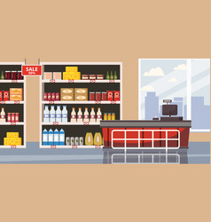 supermarket or store interior with shelves and vector image
