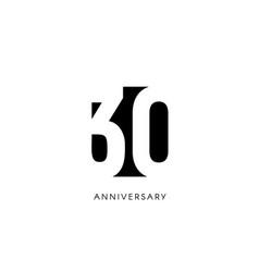Thirty anniversary minimalistic logo thirtieth vector