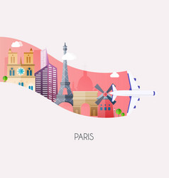 travel to paris traveling on airplane planning a vector image
