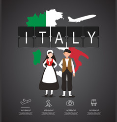 Traveling to italy with map of infographic vector