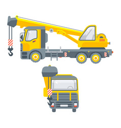 trucks with crane for building material vector image